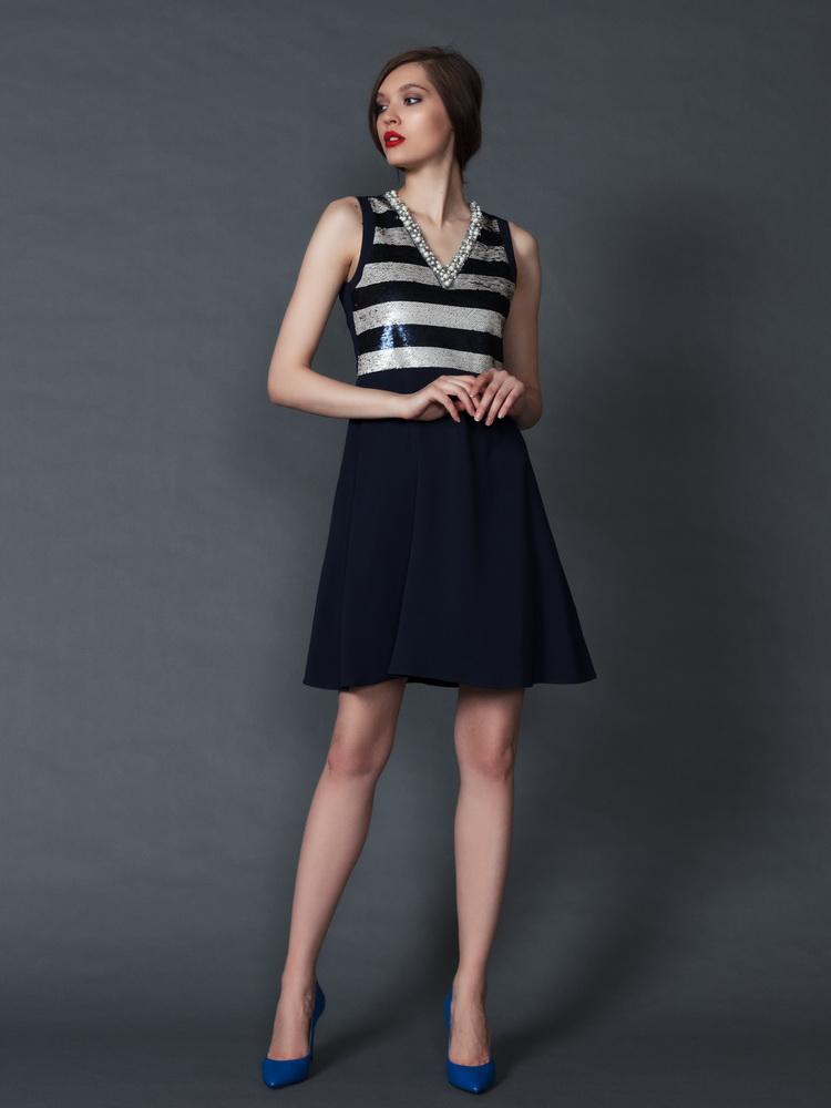 платье с пайетками Penny Black и лодочки Zenux цвета индиго